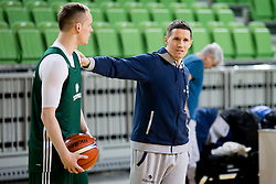 Klemen Prepelic and Jaka Lakovic during practice session of Slovenian National Basketball team before qualification matches for FIBA Basketball World Cup 2019, on February 20, 2017 in Arena Stozice, Ljubljana, Slovenia. Photo by Urban Urbanc / Sportida