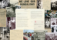 Photomontage of archive photos and documents about prefabs and prefab life.