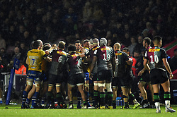 Tempers flare between both sets of forwards - Mandatory byline: Patrick Khachfe/JMP - 07966 386802 - 23/11/2019 - RUGBY UNION - The Twickenham Stoop - London, England - Harlequins v Bath Rugby - Heineken Champions Cup