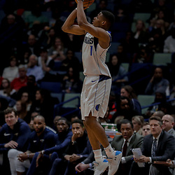 Dec 29, 2017; New Orleans, LA, USA; Dallas Mavericks guard Dennis Smith Jr. (1) shoots against the New Orleans Pelicans during the second half at the Smoothie King Center. The Mavericks defeated the Pelicans 128-120.  Mandatory Credit: Derick E. Hingle-USA TODAY Sports