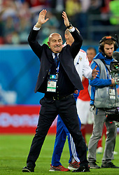 SAINT PETERSBURG, RUSSIA - Tuesday, June 19, 2018: Russia's head coach Stanislav Cherchesov celebrates as his side beat Egypt 3-1 during the FIFA World Cup Russia 2018 Group A match between Russia and Egypt at the Saint Petersburg Stadium. (Pic by David Rawcliffe/Propaganda)