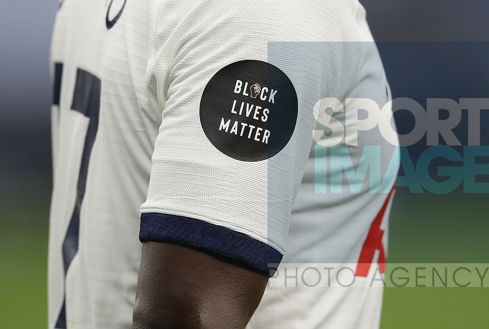 Black Live Matters slogan remains as a sleeve badge on the shirt during the Premier League match at the Tottenham Hotspur Stadium, London. Picture date: 23rd June 2020. Picture credit should read: David Klein/Sportimage
