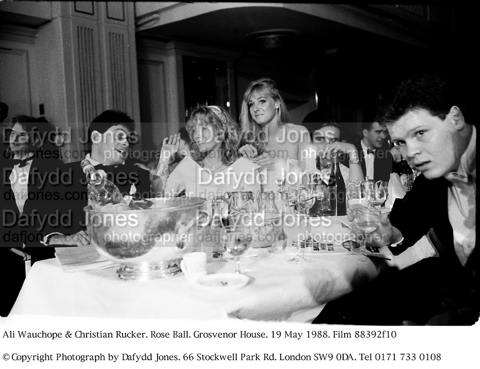 Ali Wauchope &amp; Christian Rucker. Rose Ball. Grosvenor House. 19 May 1988. Film 88392f10<br />