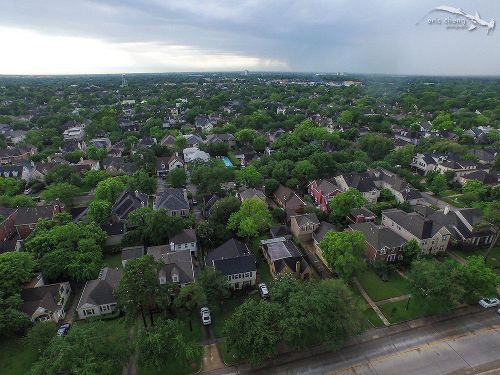 Aerial shot of suburb in Houston, Texas