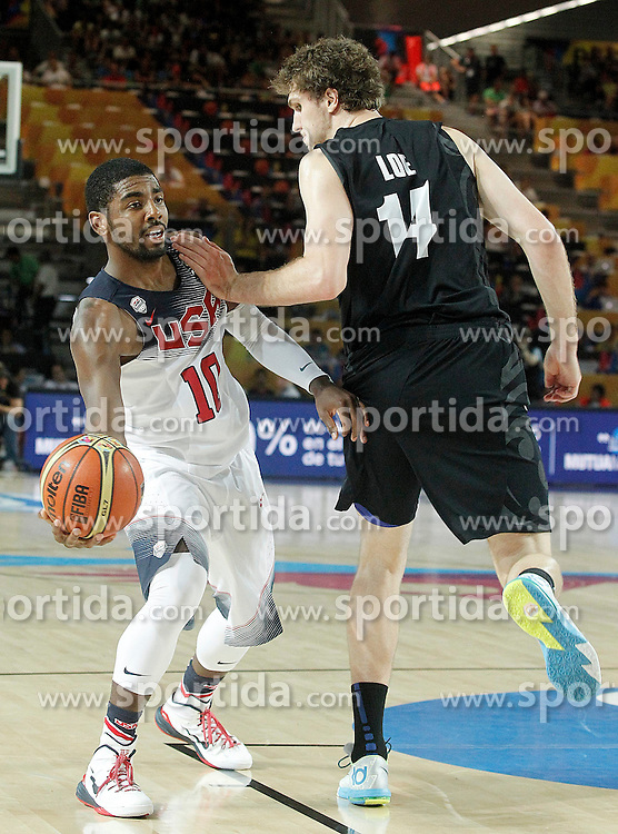 02.09.2014, City Arena, Bilbao, ESP, FIBA WM, USA vs Neuseeland, im Bild USA's Kyrie Irving (l) and New Zealand's Rob Loe // during FIBA Basketball World Cup Spain 2014 match between USA and New Zealand at the City Arena in Bilbao, Spain on 2014/09/02. EXPA Pictures &copy; 2014, PhotoCredit: EXPA/ Alterphotos/ Acero<br /> <br /> *****ATTENTION - OUT of ESP, SUI*****