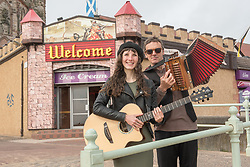 The Jennifer Ewan Band took a break from their Fringe show 'Bonnie Bayou' at the Montebar to check out the best spots to perform at Portobello's Big Beach Busk this coming Saturday. The local Scots-Cajun pop group will be back on Saturday afternoon along with musicians of all sorts providing a mile of music at Edinburgh's seaside suburb. This will be the eighth year of the busk that was first started by Portobello resident Paul Lambie. All performers are welcome to just turn up, find a place to play and join in.  Pictured: Jennifer Ewan (guitar) and Kim Tebble (accordian). Not present was third band member Iain MacFadyen (Bass)<br /> <br /> <br /> © Jon Davey/ EEm