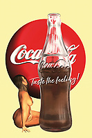 """""""Taste the feeling"""" is a classic Coca-Cola slogan. When we combine that slogan with the powerful visual of a half-empty Coke bottle, we are immediately transported back to a time when Coca-Cola meant something else to us. When you bring these things together with the iconic Coke logo, and then add the presence of a striking, beautiful nude woman, our minds are brought to a truly unique place. What do all of these things mean, when they are brought together? We can only speculate. We can only look at her face, think about the slogan, and wonder what comes next."""