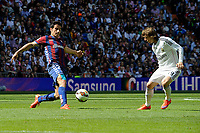 Real Madrid´s Luka Modric and Eibar´s Saul Berjon during 2014-15 La Liga match between Real Madrid and Eibar at Santiago Bernabeu stadium in Madrid, Spain. April 11, 2015. (ALTERPHOTOS/Luis Fernandez)