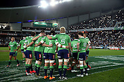 Highlanders Huddle, NSW Waratahs v Otago Highlanders Semi Final. Sport Rugby Union Super Rugby Domestic Provincial. Allianz Stadium SFS. 27 June 2015. Photo by Paul Seiser/SPA Images