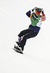 PYEONGCHANG, March 12, 2018  Brenna Huckaby from the United States celebrates after winning the Women's Snowboard Cross Big Final SB-LL1 at the 2018 PyeongChang Winter Paralympic Games at Jeongseon Alpine Centre, South Korea, March 12, 2018. Brenna Huckaby claimed the title of the event. (Credit Image: © Xia Yifang/Xinhua via ZUMA Wire)