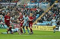 Photo: Ed Godden.<br />Coventry City v Brighton & Hove Albion. Coca Cola Championship. 04/02/2006. <br />Dennis Wise scores from a diving header for Coventry.