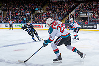 KELOWNA, CANADA - DECEMBER 30: Carsen Twarynski #18 and Nolan Foote #29 of the Kelowna Rockets skate over centre ice against the Victoria Royals on December 30, 2017 at Prospera Place in Kelowna, British Columbia, Canada.  (Photo by Marissa Baecker/Shoot the Breeze)  *** Local Caption ***