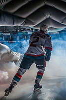KELOWNA, CANADA - JANUARY 30: James Hilsendager #2 of the Kelowna Rockets enters the ice through the dragon tunnel Ogi against the Medicine Hat Tigers on January 30, 2017 at Prospera Place in Kelowna, British Columbia, Canada.  (Photo by Marissa Baecker/Shoot the Breeze)  *** Local Caption ***