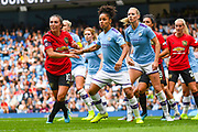 Manchester United Women midfielder Katie Zelem (10) and Manchester City Women defender Demi Stokes (3) during the FA Women's Super League match between Manchester City Women and Manchester United Women at the Sport City Academy Stadium, Manchester, United Kingdom on 7 September 2019.