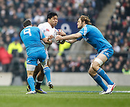 Picture by Andrew Tobin/Focus Images Ltd +44 7710 761829.10/03/2013.  Manu Tuilagi of England is tackled by Edoardo Gori (9) of Italy during the RBS 6 Nations match at Twickenham Stadium, Twickenham.