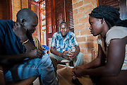 Counsellor training at the Youth Centre. The trainees practice using role play in small groups. Visit to the work of Network for Africa in Patongo, Northern Uganda, November 2012.