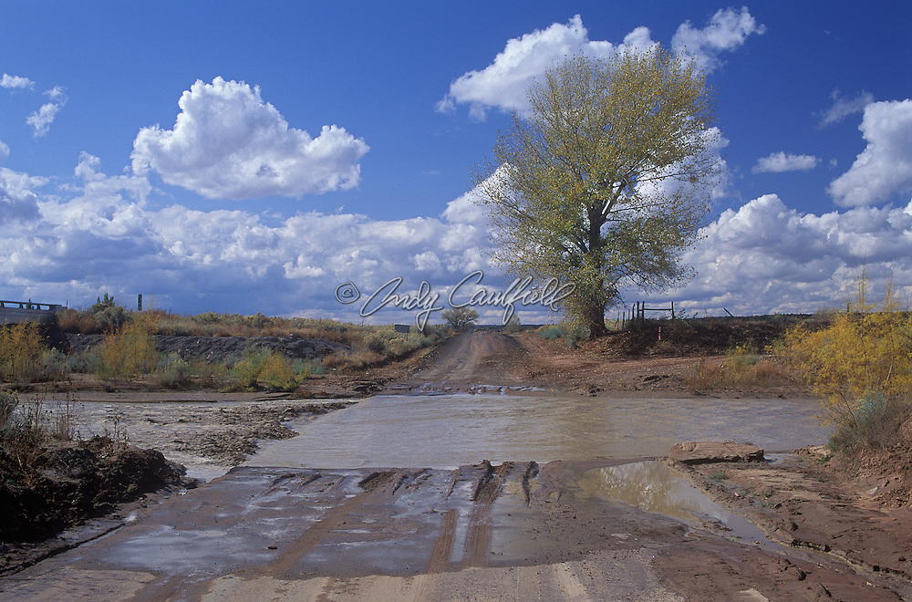 "Route 66, a section of the ""old road"" with water covering road surface, Arizona, USA"