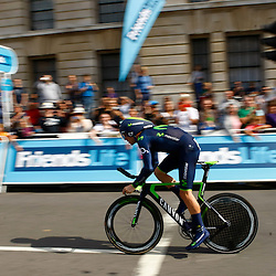 Movistars' Alex Dowsett GBR. powers off at the start of the time trial. Friends Life Tour of Britain 2014. Round 8. (c) Matt Bristow | SportPix.org.uk