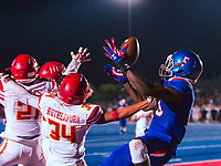 Folsom Bulldogs Joe Ngata (10), misses a pass intended for him in the endazone during the second quarter as the Folsom Bulldogs host the Jesuit Marauders in the Sac-Joaquin Section Division I third round playoff game, Friday Nov 24, 2017. <br /> photo by Brian Baer
