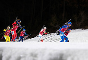 PYEONGCHANG-GUN, SOUTH KOREA - FEBRUARY 20: Paulina Fialkova of Slovakia, Magdalena Gwizdon of Poland and Lisa Vittozzi of Italy during the Biathlon 2x6km Women + 2x7.5km Men Mixed Relay at Alpensia Biathlon Centre on February 20, 2018 in Pyeongchang-gun, South Korea. Foto: Nils Petter Nilsson/Ombrello                    ***BETALBILD***
