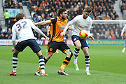 Preston North End Midfielder Paul Gallagher battles during the Sky Bet Championship match between Preston North End and Hull City at Deepdale, Preston, England on 28 December 2015. Photo by Pete Burns.