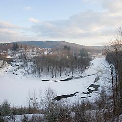 The Ottauquechee River in winter.  Quechee, Vermont.