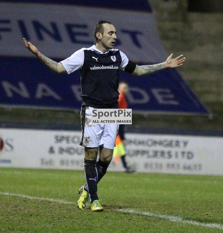Stewart wonders why hes not getting penalty during the Raith Rovers v Dumbarton  Scottish Championship 23 January 2016<br /> <br /> (c) Andy Scott | SportPix.org.uk