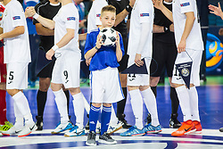 Ball boy during futsal match between Russia and Kazakhstan in Third place match of UEFA Futsal EURO 2018, on February 10, 2018 in Arena Stozice, Ljubljana, Slovenia. Photo by Ziga Zupan / Sportida