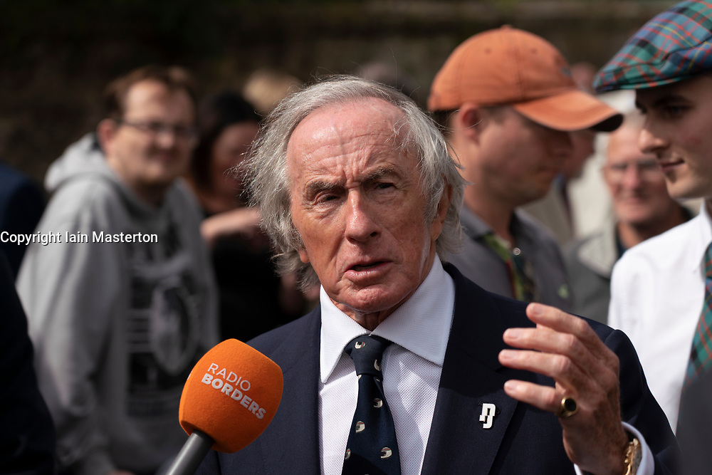 Duns, Scotland, UK. 29 August 2019. Official opening of the new Jim Clark Motorsport Museum in Duns, Berwickshire, UK. The museum was opened by Sir Jackie Stewart and is operated but the Jim Clark trust. Pictured. Sir Jackie Stewart at the opening. Iain Masterton/Alamy Live News.