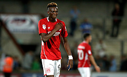 Tammy Abraham of Bristol City bumps his chest on the club badge after scoring the winning goal against Scunthorpe United - Mandatory by-line: Robbie Stephenson/JMP - 23/08/2016 - FOOTBALL - Glanford Park - Scunthorpe, England - Scunthorpe United v Bristol City - EFL Cup second round