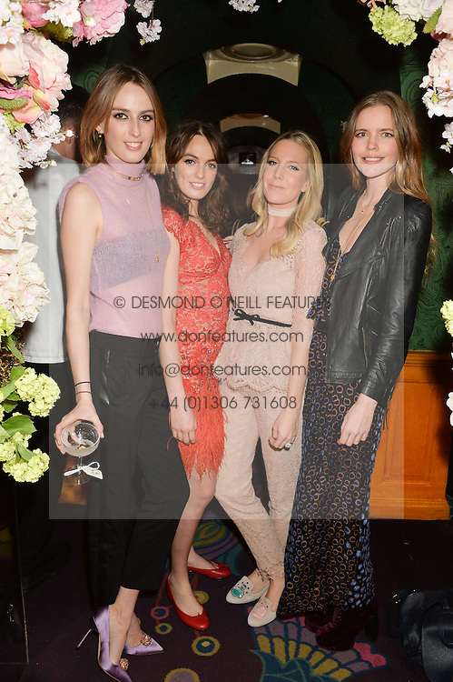 Left to right, LADY ALICE MANNERS, LADY VIOLET MANNERS, ALICE NAYLOR-LEYLAND and KATIE READMAN at a party to celebrate Alice Naylor-Leyland's Collaboration with French Sole held at Annabel's, 44 Berkeley Square, London on February 2nd 2016