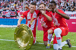 26.05.2019, Red Bull Arena, Salzburg, AUT, 1. FBL, FC Red Bull Salzburg Meisterfeier, im Bild Dominik Szoboszlai (FC Red Bull Salzburg), Andreas Ulmer (FC Red Bull Salzburg), Patson Daka (FC Red Bull Salzburg) // during the Austrian Football Bundesliga Championsship Celebration at the Red Bull Arena in Salzburg, Austria on 2019/05/26. EXPA Pictures © 2019, PhotoCredit: EXPA/ JFK