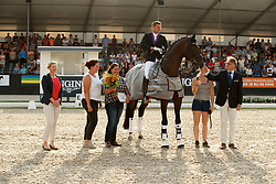 Helgstrand Andreas, DEN, Revolution, Kempermann Frank, FEI, Brandtner Nadine, WBFSH<br /> with the breeders Yasemin and Sarah Yanik<br /> World ChampionshipsYoung Dressage Horses<br /> Ermelo 2018<br /> © Hippo Foto - Dirk Caremans<br /> 04/08/2018
