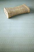 Asian style summer Bamboo head cushion on a tatami floor