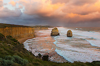 Sea Stacks in rough seas along the Great Ocean Road, Victoria, Australia