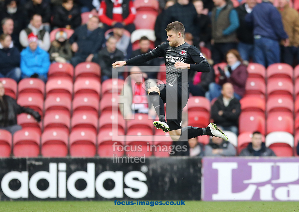 Johann Gudmundsson of Charlton Athletic celebrates equalizing to make it 1-1 during the Sky Bet Championship match at the Riverside Stadium, Middlesbrough<br /> Picture by Simon Moore/Focus Images Ltd 07807 671782<br /> 07/02/2015