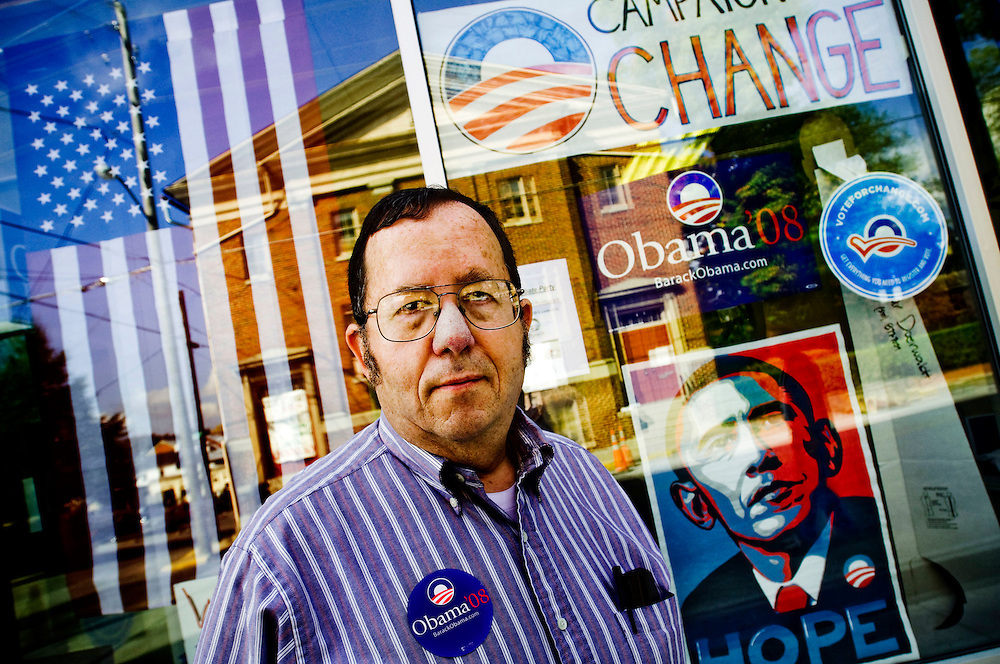 Barack Obam volunteer Jeff Norman outside the Obama campagin office in Winchester, Virginia..Photographer: Chris Maluszynski /MOMENT