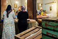 FEZ, MOROCCO - CIRCA APRIL 2017:  Moroccan women at the Medina in Fez.
