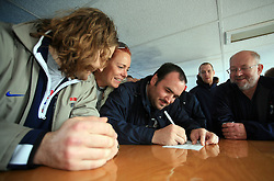 Robert Kristan, Spela Predan, Jure Mastnak, Andrej Tavzelj and Matjaz Zargi preparing a speech at whale watching boat when some guys  were celebrating an anniversary of playing for Slovenian National Team for 100 (120) times, during IIHF WC 2008 in Halifax,  on May 07, 2008, sea at Halifax, Nova Scotia,Canada.(Photo by Vid Ponikvar / Sportal Images)
