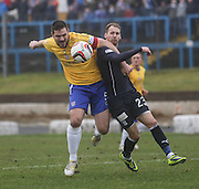 Dundee penalty claim as John Armstrong drags over Martin Boyle - Cowdenbeath v Dundee, SPFL Championship at Central Park<br /> <br />  - &copy; David Young - www.davidyoungphoto.co.uk - email: davidyoungphoto@gmail.com