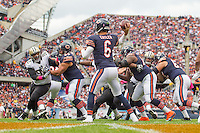 06 October 2013: Quarterback (6) Jay Cutler of the Chicago Bears passes the ball against the New Orleans Saints during the second half of the Saints 26-18 victory over the Bears in an NFL Game at Soldier Field in Chicago, IL.
