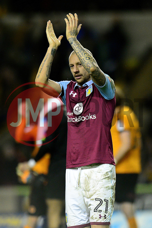 Alan Hutton of Aston Villa applauds the away support  - Mandatory by-line: Dougie Allward/JMP - 14/01/2017 - FOOTBALL - Molineux - Wolverhampton, England - Wolverhampton Wanderers v Aston Villa - Sky Bet Championship
