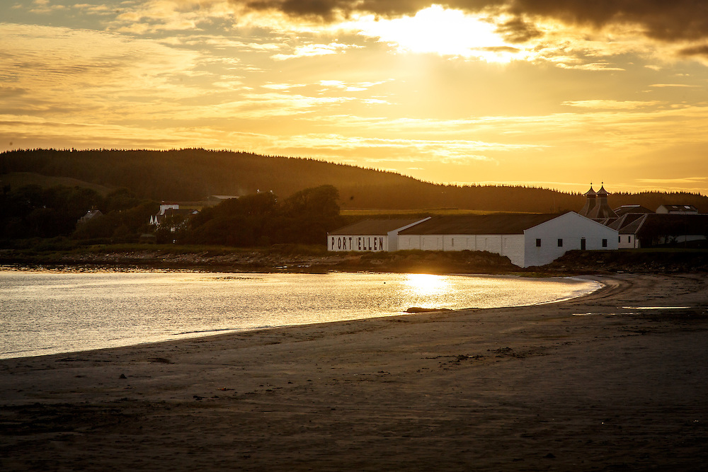 The mothballed Port Ellen Distillery at sunset at Port Ellen, Isle of Islay, Scotland, July 14, 2015. The facility, now named Diageo Global Supply: Port Ellen, produces the peated malt used by the vast majority of the distilleries on Islay. Gary He/DRAMBOX MEDIA LIBRARY