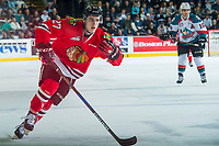 KELOWNA, CANADA - APRIL 8: Brad Ginnell #27 of the Portland Winterhawks skates against the Kelowna Rockets on April 8, 2017 at Prospera Place in Kelowna, British Columbia, Canada.  (Photo by Marissa Baecker/Shoot the Breeze)  *** Local Caption ***