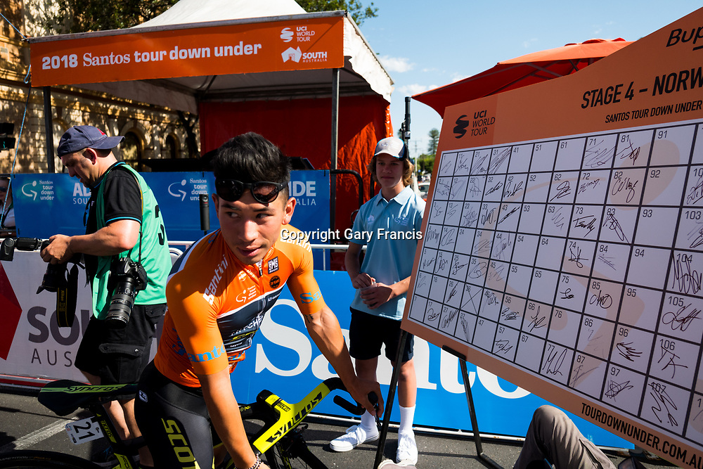 Caleb Ewan signing on for Stage 4, Norwood to Uraidla, of the Tour Down Under, Australia on the 19 of January 2018 ( Credit Image: © Gary Francis / ZUMA WIRE SERVICE )