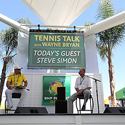 March 14, 2014 Indian Wells, California. BNP Paribas Open tournament director Steve Simon joins Wayne Bryan for Tennis Talk on the Tennis Garden Village Stage. (Photo by Billie Weiss/BNP Paribas Open)
