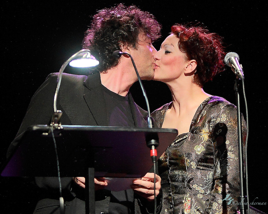 "Neil Gaiman and Amanda Palmer perform on November 9th, 2011 during the ""An Evening with Neil Gaiman & Amanda Palmer""  at the Moore Theatre."