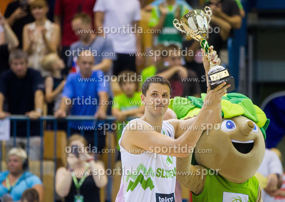 Bostjan Nachbar of Slovenia with a trophy for 1st place at Lasko tournament after the friendly match between National teams of Slovenia and Turkey for Eurobasket 2013 on August 4, 2013 in Arena Zlatorog, Celje, Slovenia. (Photo by Vid Ponikvar / Sportida.com)