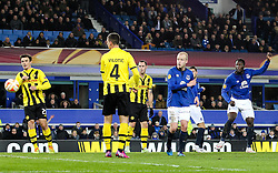 Everton's Romelu Lukaku scores his sides second goal, 2-1 - Photo mandatory by-line: Matt McNulty/JMP - Mobile: 07966 386802 - 26/02/2015 - SPORT - Football - Liverpool - Goodison Park - Everton v Young Boys - UEFA EUROPA LEAGUE ROUND OF 32 SECOND LEG
