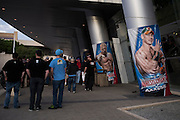 Fans arrive for WWE Axxess ahead of WrestleMania on April 1, 2016 in Dallas, Texas.